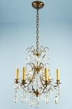 5-candle Swedish cut-crystal chandelier <NOBR>(ca. 1940s)</NOBR>