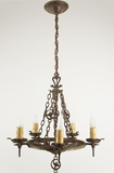 "5-candle Virden Co. ""dogs head"" cast iron Tudor chandelier, circa 1920s"