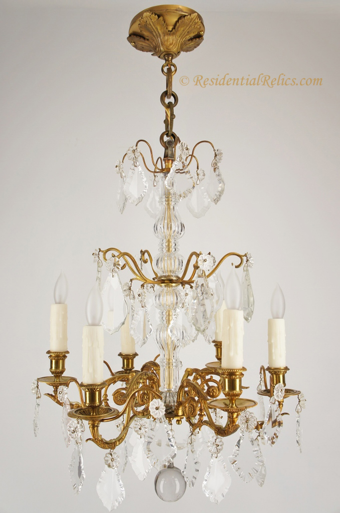 Antique French gilt bronze cut crystal chandelier circa 1890s – Candle Crystal Chandelier