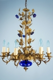 8-candle French chandelier with cobalt blue glass decoration <NOBR>(ca.1890s)</NOBR>
