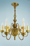 9-candle gilt bronze chandelier <NOBR>(ca. 1900s)</NOBR>