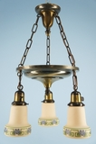 Brass chandelier with 3 ivory stenciled glass shades <NOBR>(ca. 1920s)</NOBR>