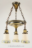 Brass pan chandelier with 3 satin ivory stenciled glass shades, circa 1920s