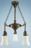 Brass chandelier with 3 white satin glass shades (circa 1920s)