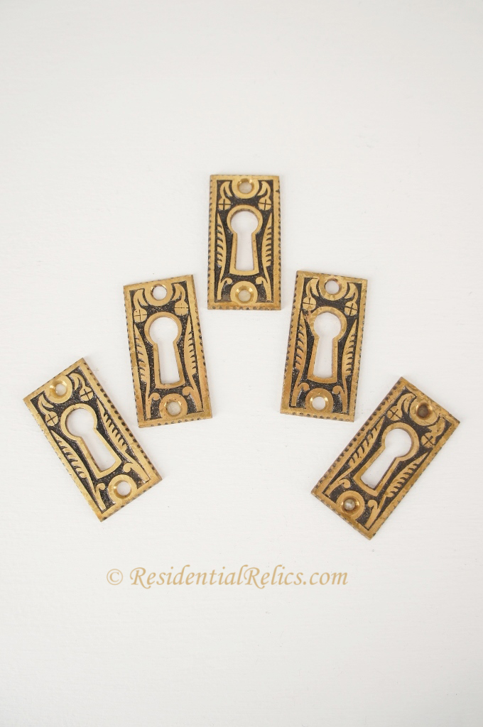 Cast brass Victorian keyhole cover, circa 1880s (new old stock) (5 ... Victorian Keyhole Covers