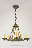 5-candle cast iron and cast brass Tudor chandelier, circa 1920s