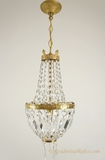 Cast brass crystal basket chandelier, circa 1940s