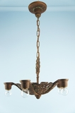 Deco-style polychrome over cast iron 5-light chandelier <NOBR>(ca. 1930s)</NOBR>