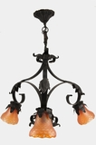 French wrought iron chandelier with 3 NuArt coral shell shades, circa 1920s