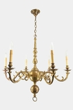 Large 6-candle Italian cast brass chandelier, circa 1950s
