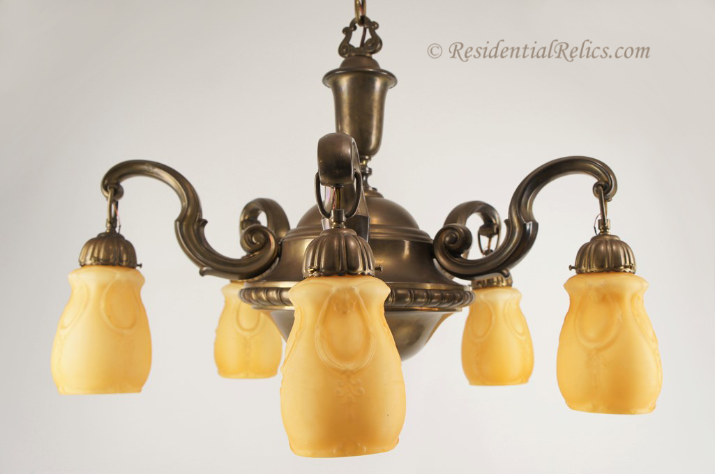 Large antique brass chandelier with amber cased glass shades – Large Brass Chandelier