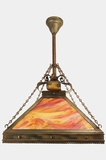 Large Arts and Crafts Slag Glass Chandelier, circa 1910s