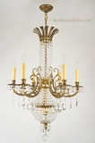 "<i><font color=""#cc6600"">On Hold!</i></font color=""#cc6600""> Large, elegant mid-century cast brass and cut crystal chandelier, circa 1950s"