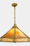 Large cast brass and slag glass chandelier, circa 1910s