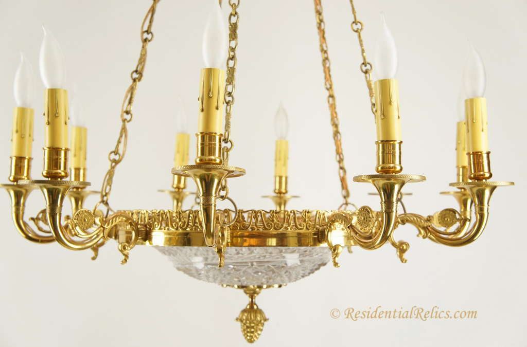 Large Mid Century Gilt Bronze And Cut Crystal Chandelier