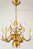 Mid-century Italian gilt 6-candle lily chandelier, circa 1950s