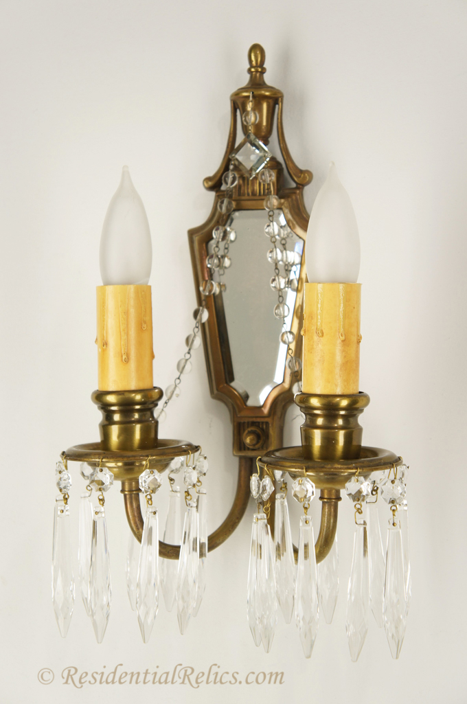 Pair Antique 2 Candle Brass Beveled Mirror And Crystal