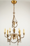 PAIR 6-candle Italian gilt leaf chandeliers, circa 1930s