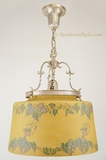 Silver-plated chandelier with large stenciled morning glory shade, circa 1920s