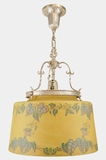 """<i><font color=""""#cc6600"""">On Hold!</i></font color=""""#cc6600""""> Silver-plated chandelier with large stenciled morning glory shade, circa 1920s"""