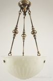 Silver-plated chandelier with heavy cast-glass inverted dome, circa 1910s