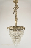 Silver plated inverted wedding cake crystal chandelier, circa 1910s