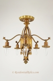 5-light cast-brass Tudor-style flush-mount chandelier, circa 1930s