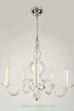 5-candle clear crystal chandelier, circa 1930s