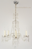 5-candle engraved glass and cut crystal chandelier, circa 1940s