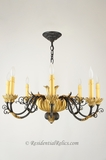 Italian 8-candle gilt carved wood and wrought iron chandelier, circa 1940s
