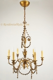 6-candle Italian gilt leaf chandelier, circa 1930s