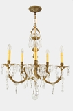 5-candle Spanish cast brass and cut-crystal chandelier, circa 1940s
