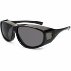 Gone Fishing Max Over-Eyes Sunglasses Shiny Blk Grey Lens