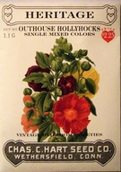 Heritage Outhouse Hollyhocks