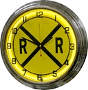 "Railroad Crossing 17"" Yellow Neon Wall Clock  [NFS]"