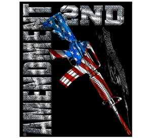 American Flag M-4 Carbine 2nd Amendment Fleece Blanket- 50x60