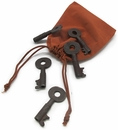 Antique Railroad Key 5 Pc Set w/Drawstring Bag