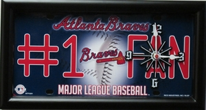 Atlanta Braves License Plate Clock