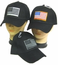 Black Tactical Cap with American Flag