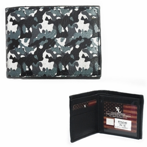 Blue Camo Trifold Full Grain Leather Wallet