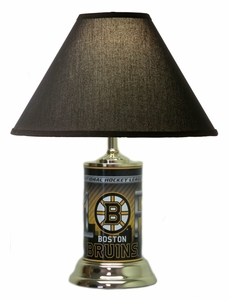 Boston Bruins License Plate Lamp with Black Shade