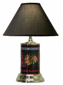 Chicago Blackhawks License Plate Lamp with Black Shade
