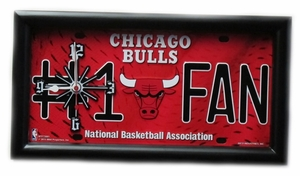 Chicago Bulls License Plate Clock