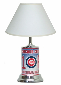 Chicago Cubs License Plate Lamp with White Shade