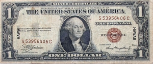 U.S. $1 Silver Certificate- World War II Hawaii Emergency Wartime Issue - Click to enlarge