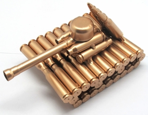 Metal Tank Sculpture Made From Shell Casings