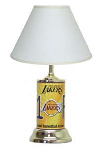 LA Lakers License Plate Lamp with White Shade