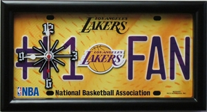 Los Angeles Lakers License Plate Clock