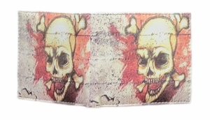 Men's Skull & Crossbones Bi-fold Leather Wallet - Click to enlarge