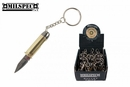 MilSpec Gold Pistol Bullet Knife Keychain 12 Pc Display